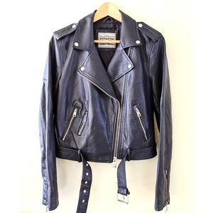 Levi's dark blue faux leather motorcycle jacket